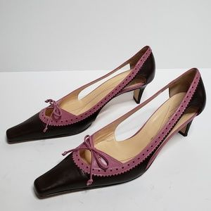 Kate spade Brown & Pink w/bow Leather heels 8.5M